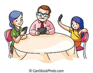 table haute, famille