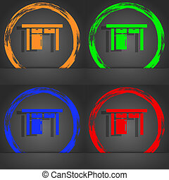 Table icon sign. Fashionable modern style. In the orange, green, blue, red design.
