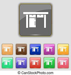 Table icon sign. Set with eleven colored buttons for your site. Vector