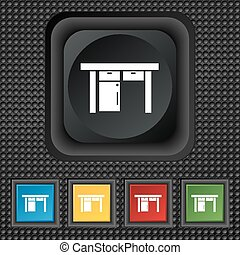 Table icon sign. symbol Squared colourful buttons on black texture. Vector