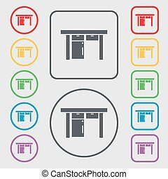 Table icon sign. Symbols on the Round and square buttons with frame. Vector