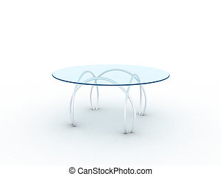 Table - Illustration of a glass table on metal legs