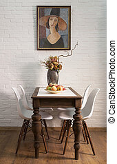 Table in a dining room