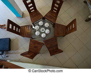 Table in cafe from top view