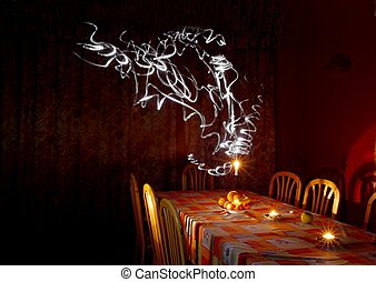 Table in dim candle light with ghostly lights rising