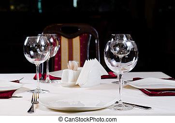 Table in Fancy Restaurant Set for Dinner