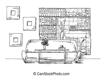 Table in front of the sofa. Brick wall with shelves. Vector illustration of a sketch style
