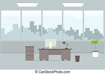 Table in office room. Cartoon flat image