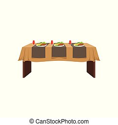 Table in restaurant for three people, festive holiday dinner, banquet table with food and drinks vector Illustration on a white background
