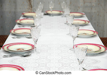 Table in the restaurant served for party