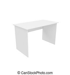 table Isolated on White Background, 3D rendering