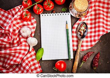 table, légumes, livre, recette, vide