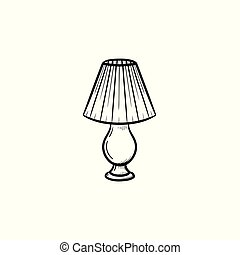 Table lamp hand drawn sketch icon.
