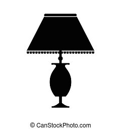 Table lamp icon, black design style on white background