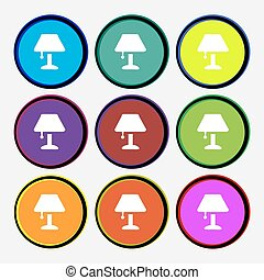Table lamp Icon sign. Nine multi colored round buttons. Vector