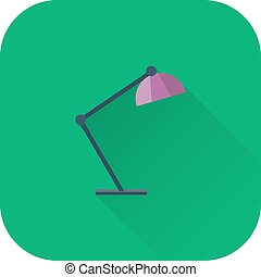 Table lamp icon. Vector. Flat design with long shadow.