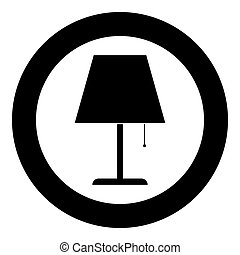 Table lamp Night lamp Clasic lamp icon in circle round black color vector illustration flat style image