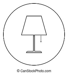 Table lamp Night lamp Clasic lamp icon in circle round outline black color vector illustration flat style image