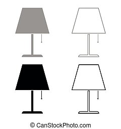 Table lamp Night lamp Clasic lamp icon set black color vector illustration flat style image