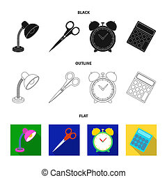Table lamp, scissors, alarm clock, calculator. School and education set collection icons in black, flat, outline style bitmap symbol stock illustration web.