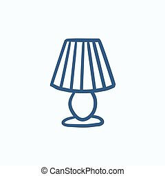 Table lamp sketch icon. - Table lamp vector sketch icon...