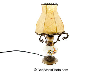 Table lamp with lampshade on white background