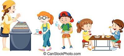 table, manger, enfants, cantine