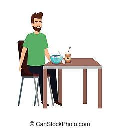 table, manger, jeune homme