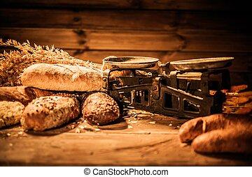 table, marchandises, cuit, fait maison