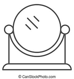 Table mirror thin line icon. Makeup mirror vector illustration isolated on white. Round mirror outline style design, designed for web and app. Eps 10.