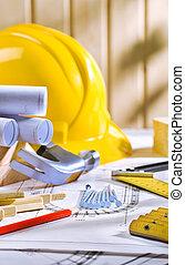 table, modèles, outils, charpenterie