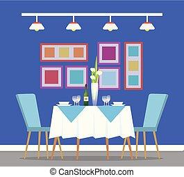 table, montage dîner, interiror, restaurant