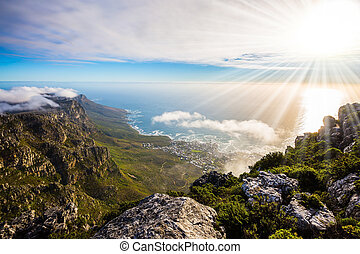 Table Mountain, Cape Town - View of the sunset in the...