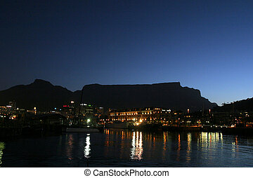 Table mountain in Cape town (night view)