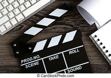 table, noir, scénario, film, bois, clavier, battant, ...