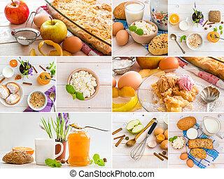 table, nourriture, bois