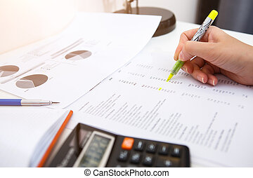 Table of accountant with papers
