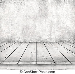 Table - Old wooden table with stone background
