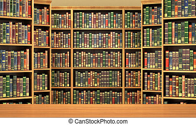 Table on background of bookshelf full of books . Old...
