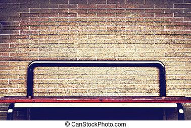 table on brickwall