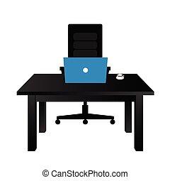 table, ordinateur portable, bureau, illustration