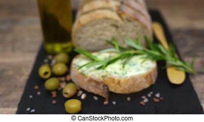 table., pain rustique, fait main, herbes, coupé, beurre