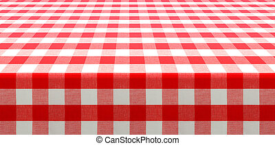 table perspective view covered by red checked tablecloth