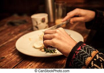 table, petit déjeuner, mains