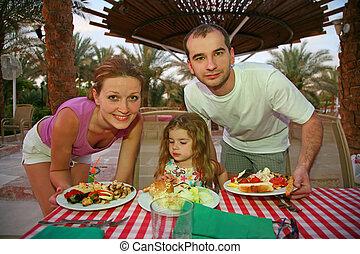 table, peu, derrière, famille, restaurant