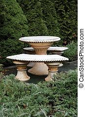 table, pierre, bancs, jardin