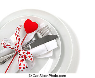 Table place setting for Valentine's Day
