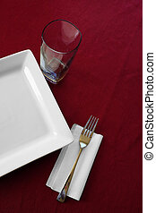 Table Place Setting Plate Cup Fork Red Tablecloth