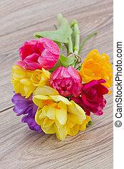 table, posy, printemps, bois, fleurs