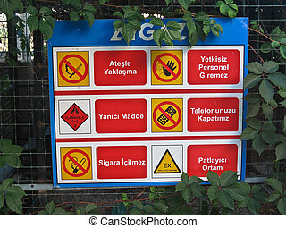 Table prohibition signs in Turkish hotel